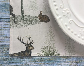 Woodland Decor - Woodland Decorations - Woodland Deer - Woodland Animals - One Placemat - Table Decor - Rustic Decor - Thanksgiving Table