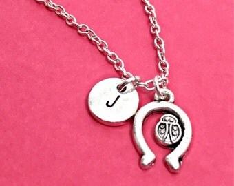 lady bug necklace,good luck necklace, lucky lady bug charm, luck jewelry, personalized, initial,initial charm,customized, monogram, ladybug