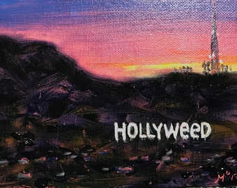 """ORIGINAL Oil painting """"Hollyweed"""" 4""""x 6"""" unframed"""
