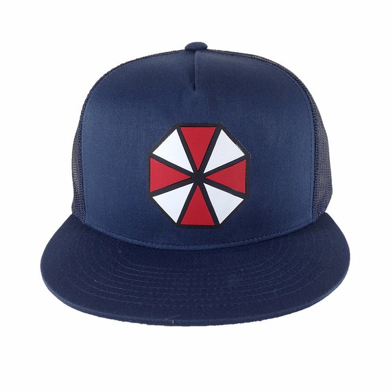 Umbrella Corporation, Navy Blue Trucker Hat, gamer trucker hat, resident evil hat, navy trucker cap, military style cap, gamer swag gift
