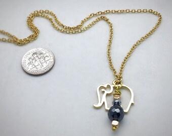 Dainty Elephant Necklace, Gold Elephant Charm, Elephant jewelry, Lucky Charm, Hematite Necklace, Boho, Yoga jewelry