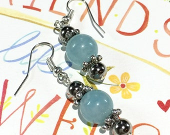 Silver Earrings, Romantic Gift Mom, Jade Gemstone Dangle Earrings, Blue Jade, Aqua Jewelry, Silver Ear Wires