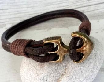 Anchor Bracelet ,Mens Leather bracelet ,Brown Leather Bracelet ,Friendship bracelet ,Bohemian Bracelet ,Sailor Bracelet