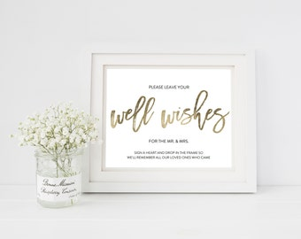 Wedding Sign Template   Well Wishes Sign   Wedding Sign   Printable Wedding Sign   5x7 & 8x10   EDN 5451