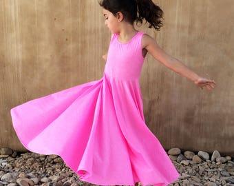 Girls Dress, Toddler Dress, Pink Dress, Summer Tank Dress, Barbie Birthday, Girls Twirl Dress, Girls Circle Dress, Cute Summer Dress.