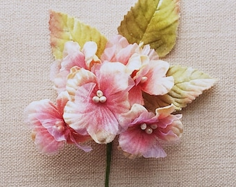 Pink Posie Vintage Look Flowers Velvet Delphinium Flower For Millinery, Brooches, jewelry supply and craft supply