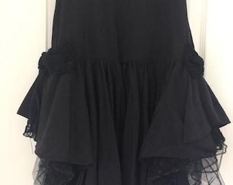 Vintage Black Lace Skirt, Lolita Black Skirt, Gothic Skirt, Victorian Style Skirt, Vamp Skirt, High Waisted Skirt, Victorian Vintage Skirt
