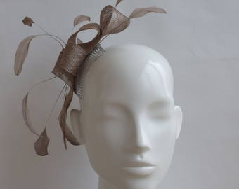 Taupe Brown Fascinator - Mink Headpiece - Light Brown Fascinator - Wedding Headpiece - Simple Modern Fascinator - Taupe Feather Fascinator