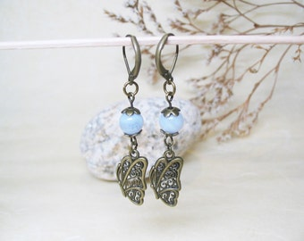 Blue Lace Agate Earrings Crystal Earrings Gemstone Jewelry Butterfly Charm Boho Earrings Romantic Earrings Butterfly Earrings Throat Chakra