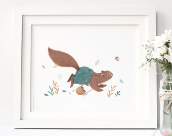 Squirrel  : Animal and Floral Inspired Nursery Giclee Print Illustrated by Nina Stajner
