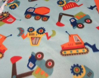 Fleece Tie Blanket-Construction Vehicles and Solid Orange or Solid Green, small