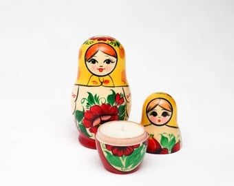 Raspberry Violet Soy Candle in Russian Nesting Doll