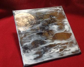 Encaustic original | Original encaustic | Wax painting | Ghost moon | Witch moon | Moon and trees |  Dark Moon Rising