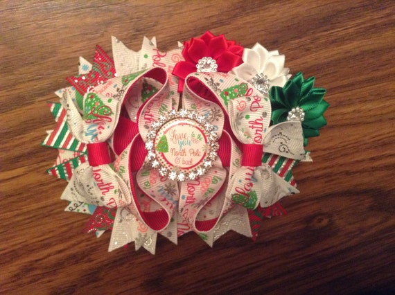 Love you to the North Pole and back Christmas OTT hair bow