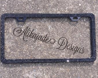 Black on Black Swarovski Crystal Bling License Plate Frame - Custom Car Accessories- Valentine's Gift for Her