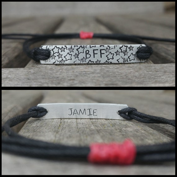 NEW- Double sided, Custom Hand Stamped Bracelet, friendship bracelet, Custom Name Jewelry, Quote Bracelet, Gift Idea, bulk stamped bracelets