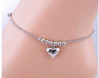 Anklet, Heart Anklet, Ankle Bracelet, Shinny Silver Anklet, Plus Size Anklet, Silver Heart Anklet, #AKL-0111