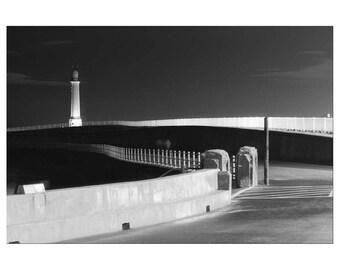 Sunderland, Noir, Black and White Photography, Print, Wall Art, Lighthouse, Surreal, Nautical, Seaburn, Roker