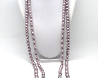 Vintage Estate Style Mauve Taupe Lucite Cystal Bead Gorgeous Necklace