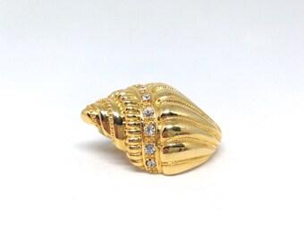 KJL Signed Avon Shell Gold Tone Vintage Estate Necklace