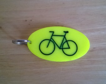 Bicycle lovers key ring, bike lock key chain, bright yellow, bicycle