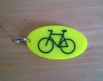 Bicycle lovers key ring, bike lock key chain, bright yellow, bicycle