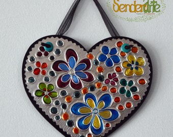 Small decoration for wall - Mini box with heart-shaped - flower multicolor-square - detail craft colorful - floral - wall