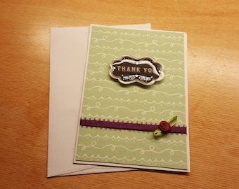 Handmade Thank You Card - Green, white and purple colors - flower embellishment