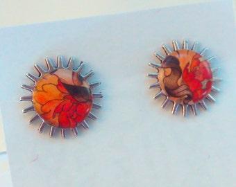 Flower, Tattoo, earrings, tattoo art, tattoo earrings, tattoo stud earrings, goth earrings, rockabilly, rockabilly earrings, steampunk #3