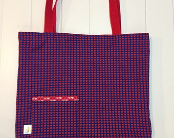 Reversible Tote Bag. Grocery Bag. Errand Bag. Gift Bag. Blue and Red Hearts.