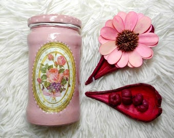 Decoupage jar with roses and pink dots, ideal for storing kitchen products, decoration jar
