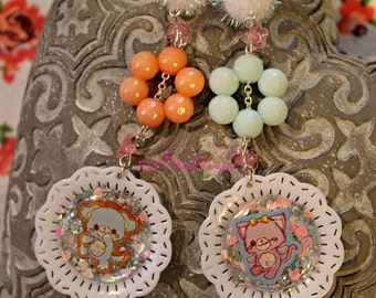 Kawaii Glitter Dog and Cat Sticker Cameo Dangle Earrings- Sweet Lolita, Hime Gyaru, Whimsical, Fairy Kei