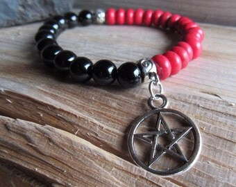 Black Onyx and Red Howlite with Pentagram Charm Bracelet