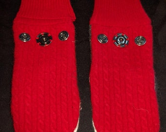 Sweater mittens hand-made upcycled with snaps to attach a pair together