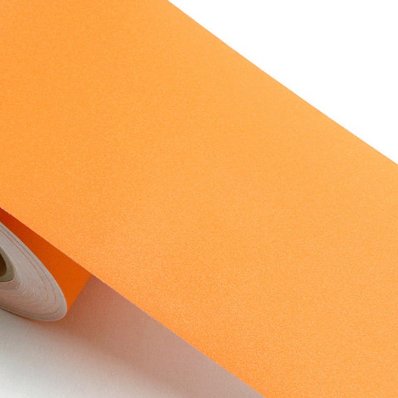 Peel stick border sticker solid orange color contact paper for Solid color peel and stick wallpaper