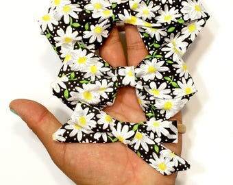 Hand Folded Sunflower Fabric Hair Bow