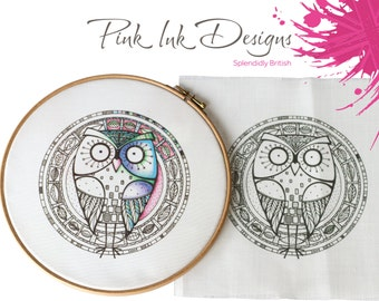 Owl embroidery pattern hoop.