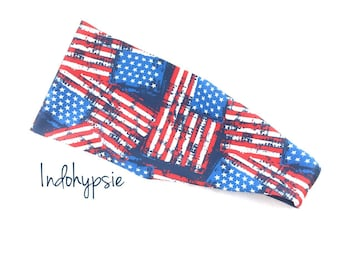 American Flag Headband, Patriotic Headband, Red, White & Blue Headband, Sweatbands, American Pride Headbands