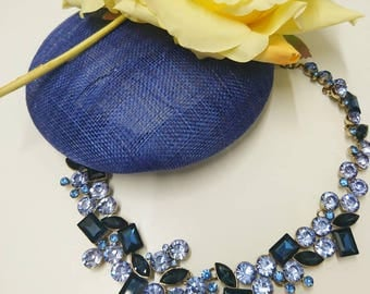 Blue jewelled statement necklace