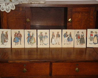 Selection of Eight Theatrical Costume Cards Lithographs…circa 1870