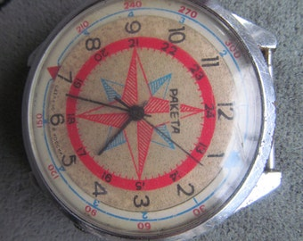 rare collectible mechanical hand watches Windrose Compass RAKETA/РАКЕТА/mechanism 2609 SU/ in working order/made in Russia