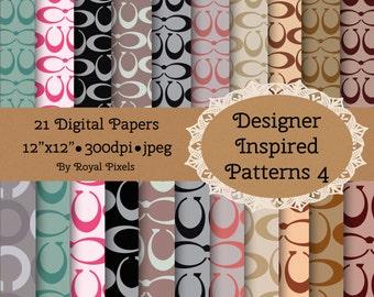 21 Digital Paper Backgrounds - Designer Inspired Patterns 4 - Instant Download #75