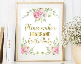 Headband Station Sign Printable Floral Baby Shower Sign Headband Station Sign Make a Headband Sign Watercolor Floral Baby Shower Sign