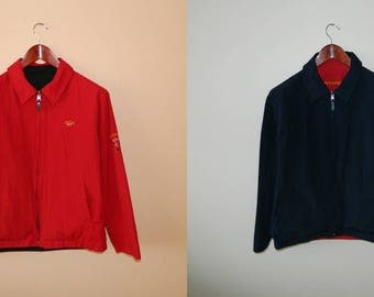 Authentic Men's Paul & Shark Red/Navy Reversible Jacket Made in Italy Size M ALWAYS DO DISCOUNT !