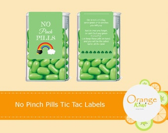 No Pinch Pill, St Patrick's Day Tic Tac Labels