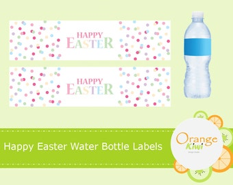 Happy Easter Water Bottle Labels, Easter Water Bottle Wraps, Waterproof Labels, Happy Easter Confetti Polka Dot Party Decor