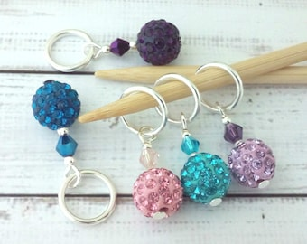 Knitting stitch markers - Disco Ball Shamballa super sparkly stitch markers - place holders knitting or crochet