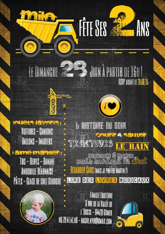 Favori Invitation anniversaire Construction Chantier à imprimer DH46