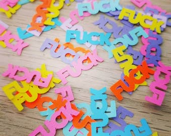 Swear word confetti - 50 pieces - rainbow colours