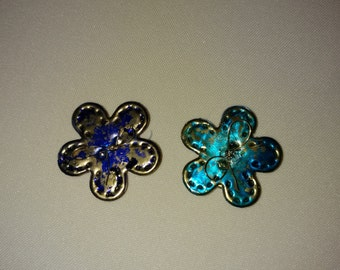 2 Small Handmade Metal Flower/ Button Refridgerator Magnets